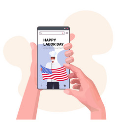 Chef in uniform on smartphone screen holding usa vector