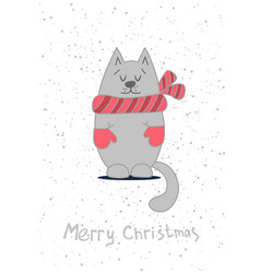 Christmas card template with cute cat vector