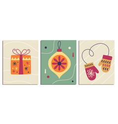 Christmas decorative cards set in retro style vector