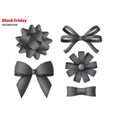 collection decorative black bows gift box vector image