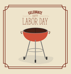 color poster frame with barbecue grill of vector image