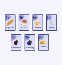 Colorful phonics flashcard letter b - baguette vector