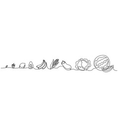 Continuous one line draw vegetables different size vector