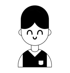 Contour nice boy with hairstyle and uniform vector