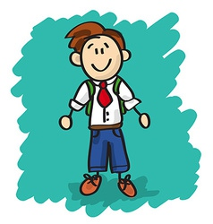 Cute cartoon little boy vector image