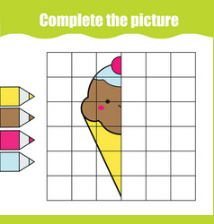 Cute ice cream complete picture grid vector