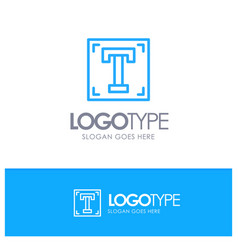 Designer font path program text blue outline logo vector