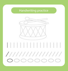 Drum and sticks kids toys theme handwriting vector
