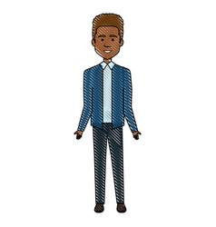 elegant black businessman avatar character vector image