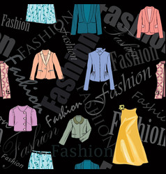 Fashion cloth seamless pattern retail women dress vector