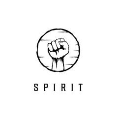 fist hand in circle icon logo design te vector image