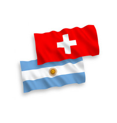 Flags argentina and switzerland on a white vector