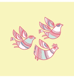 Folk style pastel color bird vector