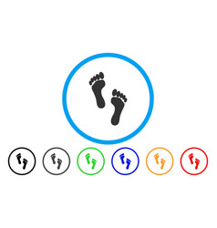footprints rounded icon vector image