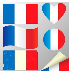 France flags set vector