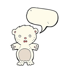Frightened polar bear cartoon with speech bubble vector