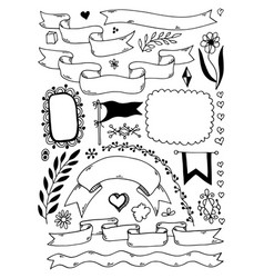 hand draw sketch doodle banners headers borders vector image