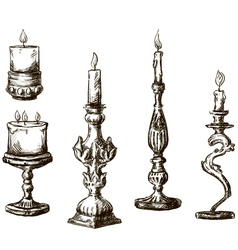 Hand drawn candles Retro candlesticks vector image