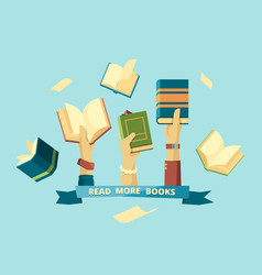 hands with books education smart concept students vector image
