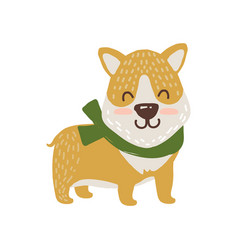 Happy dog in scarf icon vector