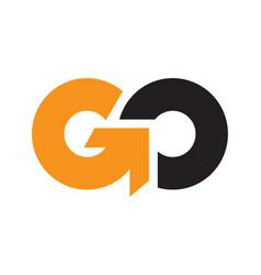 initial letter go uppercase logo vector image