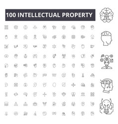 Intellectual property line icons signs vector