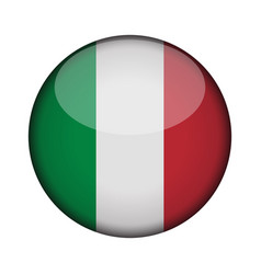 Italy flag in glossy round button of icon italy vector