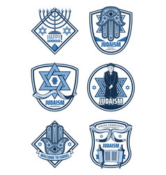 Judaism religion and hanukkah holiday icons vector
