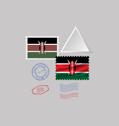 Kenya flag postage stamp set isolated on gray vector