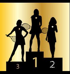 Ladies tennis champions vector