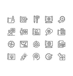 Line engineering design icons vector