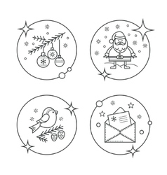 Linear christmas icons in circles vector