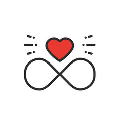 Love line infinite heart icon happy valentine day vector