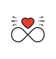 Love line infinite heart icon happy valentine day vector