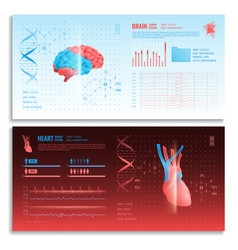 medical hud interface horizontal banners vector image