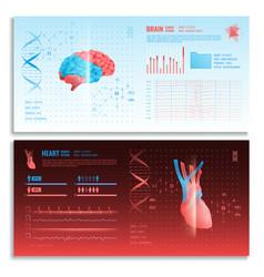 Medical hud interface horizontal banners vector