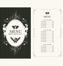 Menu with floral ornaments and price list vector