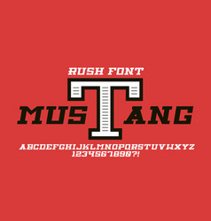 Mustang bold cursive font vector