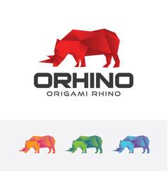 origami rhino logo vector image