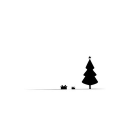outline christmas tree with gift box vector image