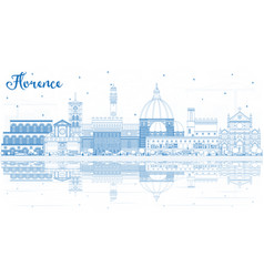 Outline florence italy city skyline with blue vector