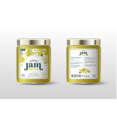 Pear jam label jar packaging sugar free vector