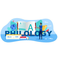 Philology and translation concept vector