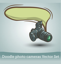 photo camera with speech bubble isolated on white vector image