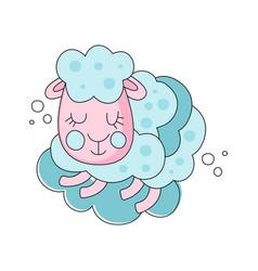 Pink and blue cartoon of sleepy sheep vector