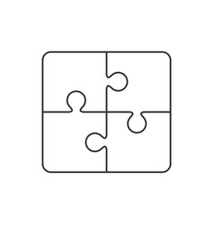 puzzle outline icon on white vector image