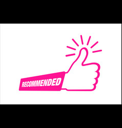 recommended icon thumb up emblem vector image