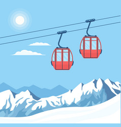 Red ski cabin lift for mountain skiers vector