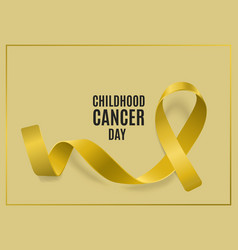 Ribbon banner for childhood cancer day with yellow vector