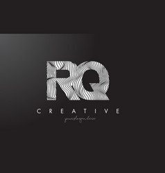 rq r q letter logo with zebra lines texture vector image